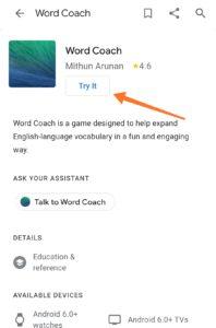 Google Word Coach App