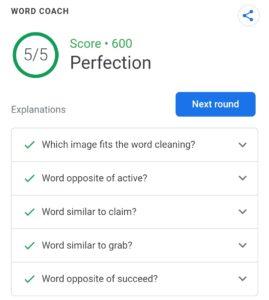 Google Word Coach Maximum Score