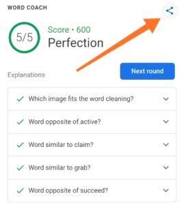 Google Word Coach Score Share