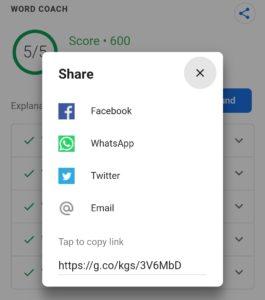 Google Word Coach Share Buttons